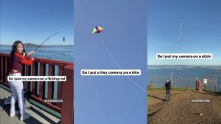 Drone camera fishing rod hack