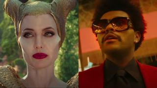 Angelina Jolie in Maleficent and The Weeknd in Blinding Lights