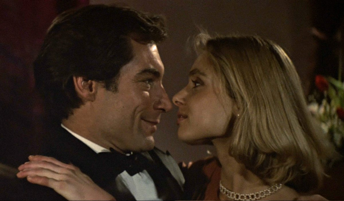 The Living Daylights Timothy Dalton and Maryam D'Abo embrace in her dressing room