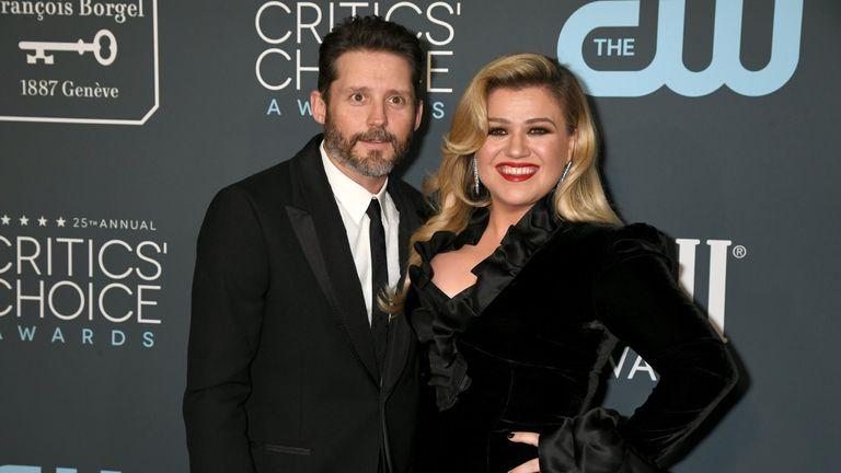 Kelly Clarkson and Brandon Blackstock attend the 25th Annual Critics' Choice Awards at Barker Hangar on January 12, 2020 in Santa Monica, California
