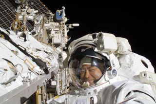 Astronaut Hoshide on ISS Spacewalk