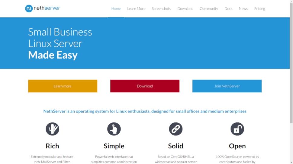 Website screenshot for NethServer
