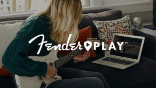Fender Play logo laid over the top of a woman playing guitar