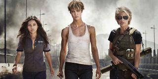 Terminator: Dark Fate Dani, Grace, and Sarah ready for battle on the bridge