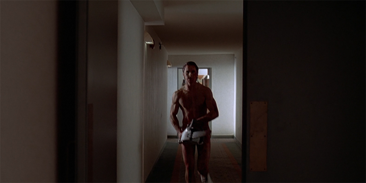 American Psycho Christian Bale as Patrick Bateman naked with chainsaw
