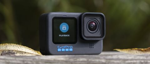 The GoPro Hero 10 Black on a wooden bench