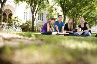 Teens studying on campus grass