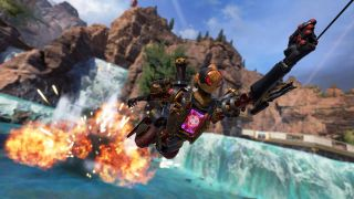 Pathfinder Apexlegends grapples away from an explosion