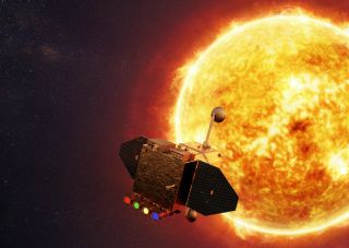 Orbiter in front of sun