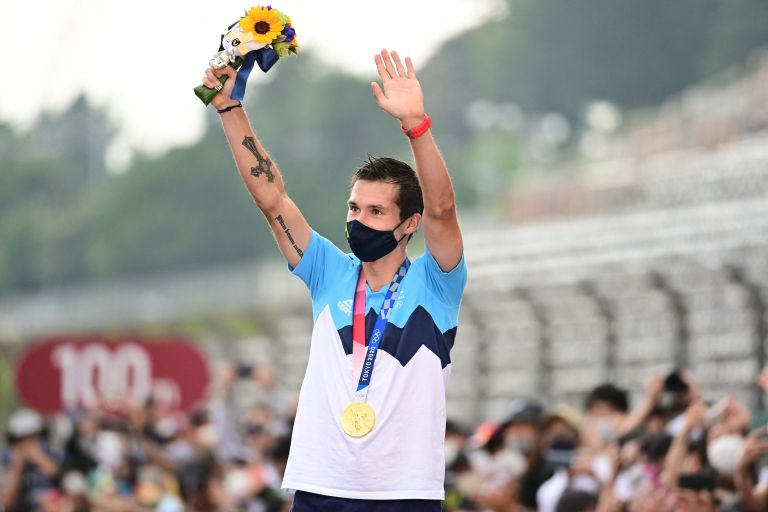 Primož Roglič with his gold medal after winning the individual time trial at the Tokyo 2020 Olympic Games
