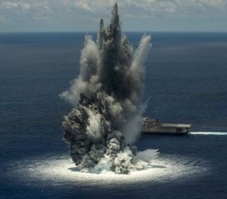 The combat ship, USS Jackson, completed its first of three scheduled shock trials in order to test the ship's ability to withstand the effects of nearby underwater explosion. Apparently, another shock test registered as an earthquake on July 16, 2016.