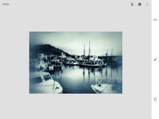 Snapseed screenshot: Harbor ships