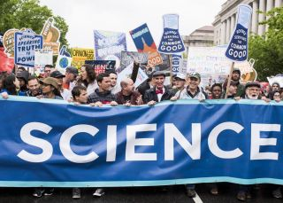 Scientists have been readying themselves to run for political offices since the March for Science. Here, marchers, including Bill Nye the Science Guy, walk down Constitution Avenue in Washington on April 22, 2017.