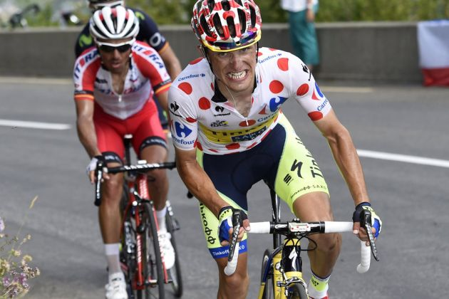 Rafal Majka attacks on stage seventeen of the 2014 Tour de France
