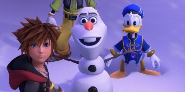 Sora, Donald, and Olaf in Kingdom Hearts III