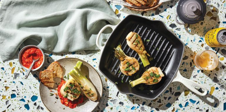 Le Creuset Square Skillet Grill lifestyle
