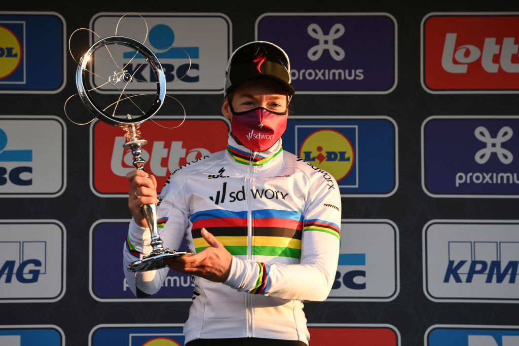 Dutch Anna van der Breggen of Team SD Worx celebrates on the podium after winning the womens elite race of the Omloop Het Nieuwsblad oneday cycling race 124km from Gent to Ninove Saturday 27 February 2021 BELGA PHOTO DAVID STOCKMAN Photo by DAVID STOCKMANBELGA MAGAFP via Getty Images