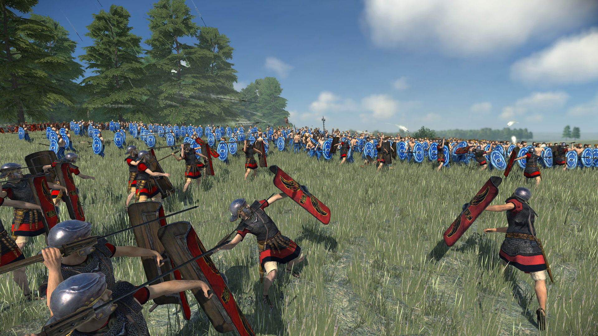 Soldiers throwing spears