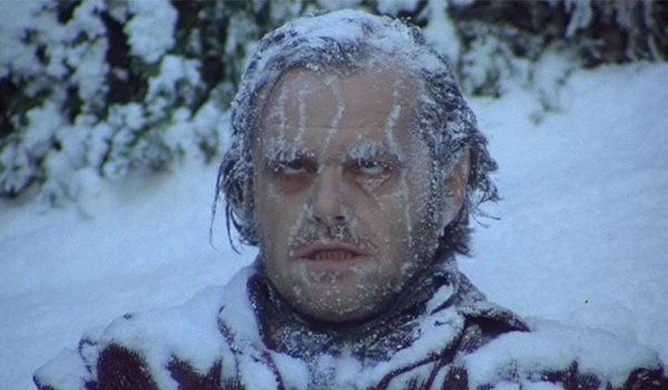 Jack Nicholson is freezes to death in The Shining