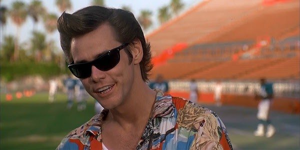 Jim Carrey in his defining role, Ace Ventura