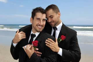 A just-married gay couple.