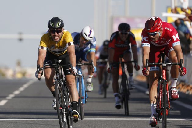 Alexander Kristoff and Mark Cavendish on stage two of the 2016 Tour of Qatar