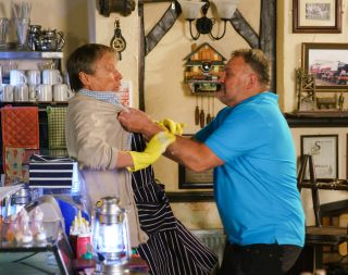 Roy Cropper being attacked by Larry in Coronation Street