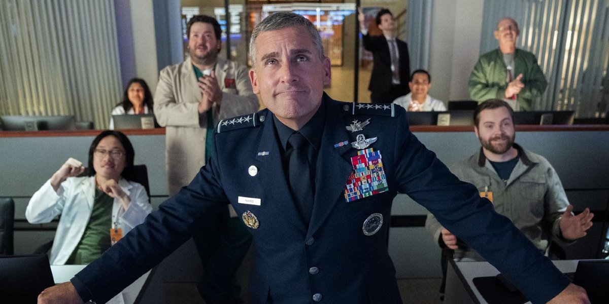 Space Force Steve Carell watches proudly from the control room