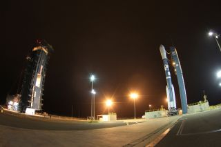 A United Launch Alliance Delta 2 rocket stands ready to launch NASA's Aquarius/SAC-D mission from Space Launch Complex-2.