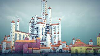 A dense seaside town