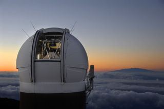 The PS1 Observatory on Haleakala, Maui just before sunrise.