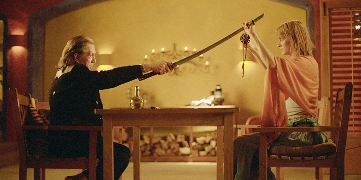 Uma Thurman and David Carradine in Kill Bill Vol. 2