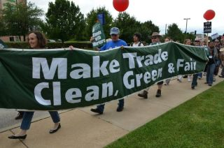 Protesters at the Trans-Pacific Partnership negotiations
