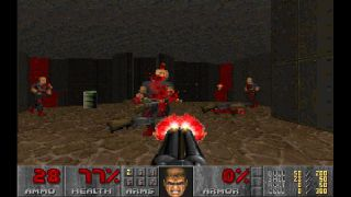 An image of a demon dying to a shotgun in Doom 2.