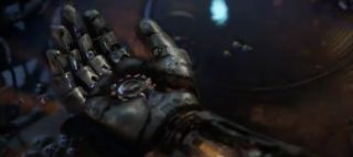 Above: Iron Man's hand probably.