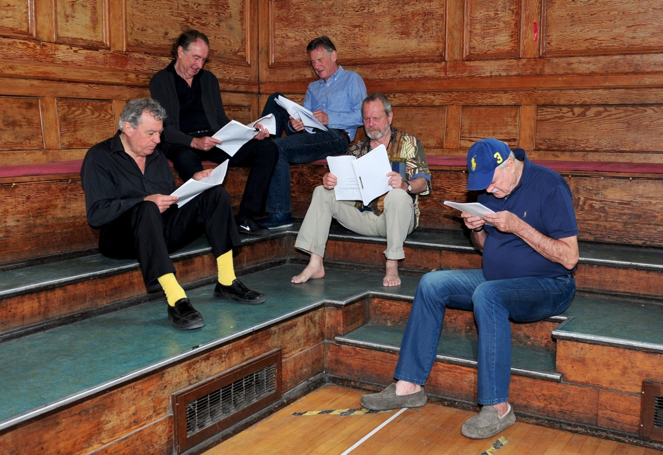 The Pythons rehearsing for Monty Python Live (Mostly)