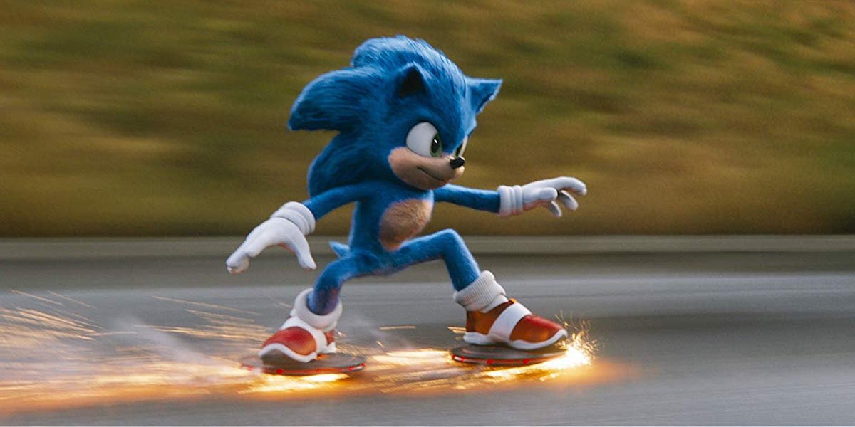 Sonic The Hedgehog surfing on road