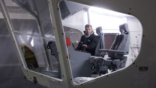 A picture of Bruce Dickinson in the cockpit of the Airlander 10