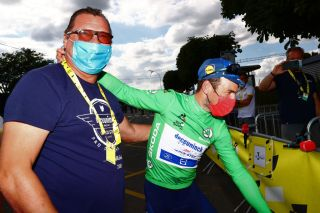 Director Wilfried Peeters and Mark Cavendish after his second stage win at the Tour de France