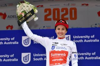 MACCLESFIELD AUSTRALIA JANUARY 16 Podium Juliette Labous of France and Team Sunweb White Best Young Jersey Celebration Flowers during the 6th Santos Womens Tour Down Under 2020 Stage 1 a 1163km Stage from Hahndorf to Macclesfield tourdownunder UCIWT TDU on January 16 2020 in Macclesfield Australia Photo by Tim de WaeleGetty Images