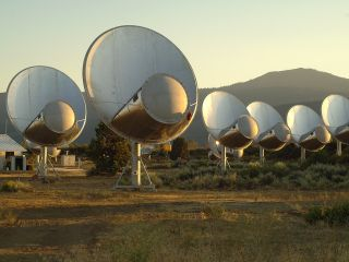 The Allen Telescope Array in northern California is dedicated to astronomical observations and a simultaneous search for extraterrestrial intelligence (SETI).