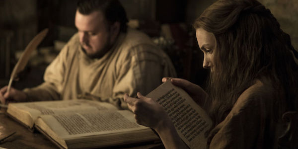 Gilly and Sam reading in Game of Thrones Season 7