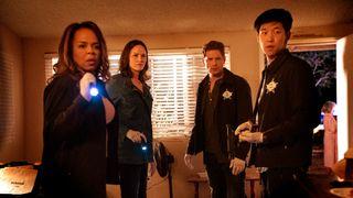 From left: Paula Newsome as Maxine Roby, Jorja Fox as Sara Sidle, Matt Lauria as Joshua Folsom, and Jay Lee as Chris Park in CBS's 'CSI: Vegas'