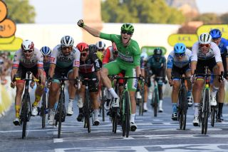 PARIS FRANCE SEPTEMBER 20 Sprint Arrival Alexander Kristoff of Norway and UAE Team Emirates Peter Sagan of Slovakia and Team Bora Hansgrohe Sam Bennett of Ireland and Team Deceuninck QuickStep Green Points Jersey Celebration Elia Viviani of Italy and Team Cofidis Solutions Credits Mads Pedersen of Denmark and Team Trek Segafredo World Champion Jersey during the 107th Tour de France 2020 Stage 21 a 122km stage from MantesLaJolie to Paris Champslyses TDF2020 LeTour on September 20 2020 in Paris France Photo by Stephan Mantey PoolGetty Images