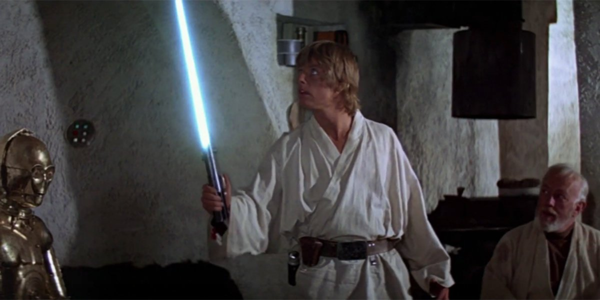 Luke wielding a lightsaber for the first time in A New Hope