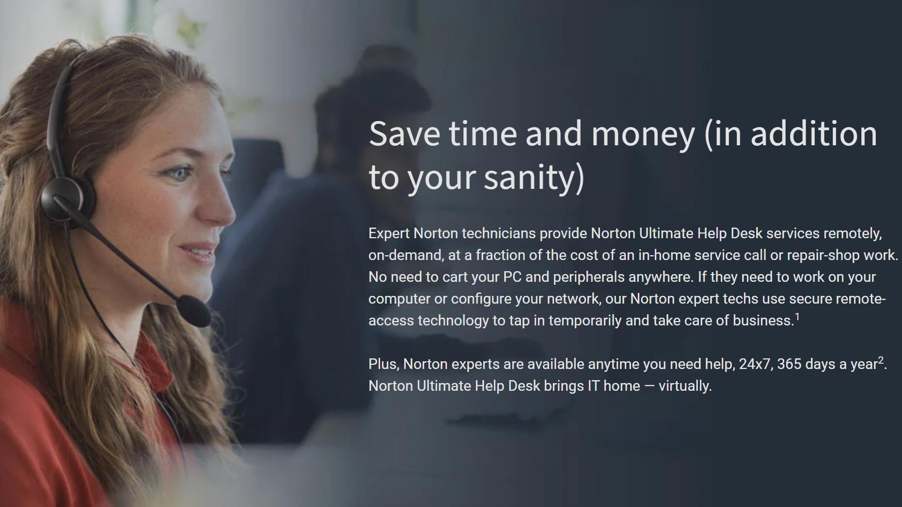 Norton Ultimate Help Desk website showing Norton Expert