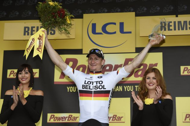 Andre Greipel on the podium after winning Stage 6 of the 2014 Tour de France