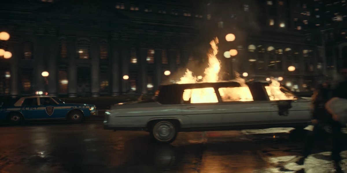 The Waynes' burning limo in Joker