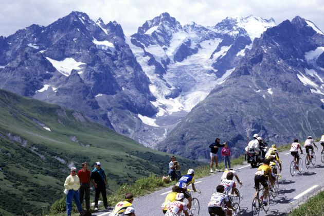 cyclists climb the Col du Galibier in the Tour de France