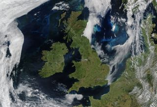 On June 17, 2018, satellites captured images of the United Kingdom and Ireland.